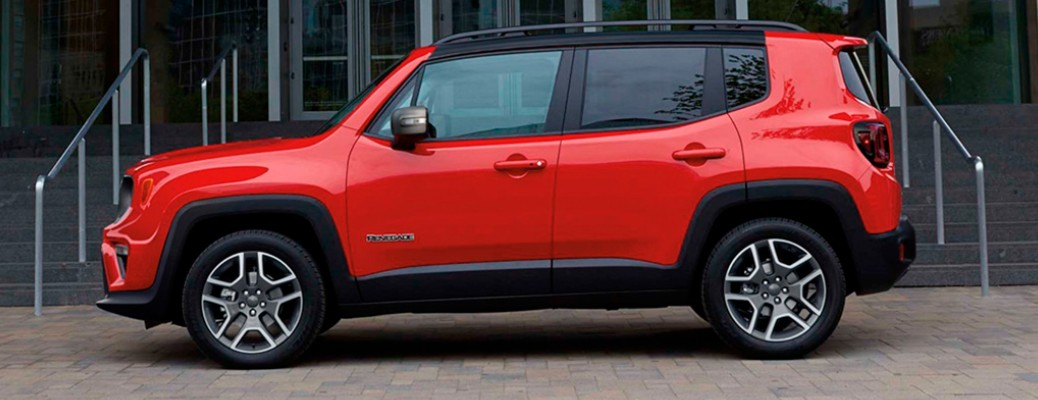 A red-colored 2021 Jeep Renegade parked outside