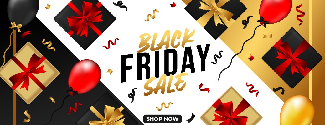 Black Friday Sale banner with present boxes tied with ribbons and a SHOP NOW button at the bottom