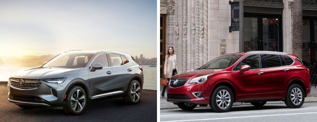 2021 Buick Envision in gray and 2020 Buick Envision in red