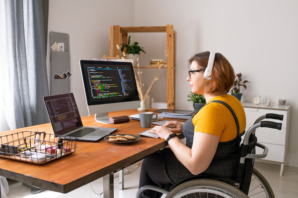 Disabled coder working from home