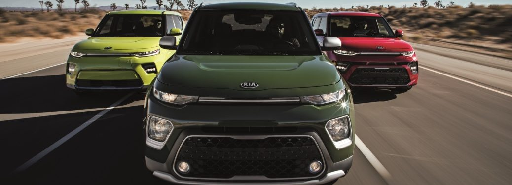 Front view of three 2020 Kia Soul models
