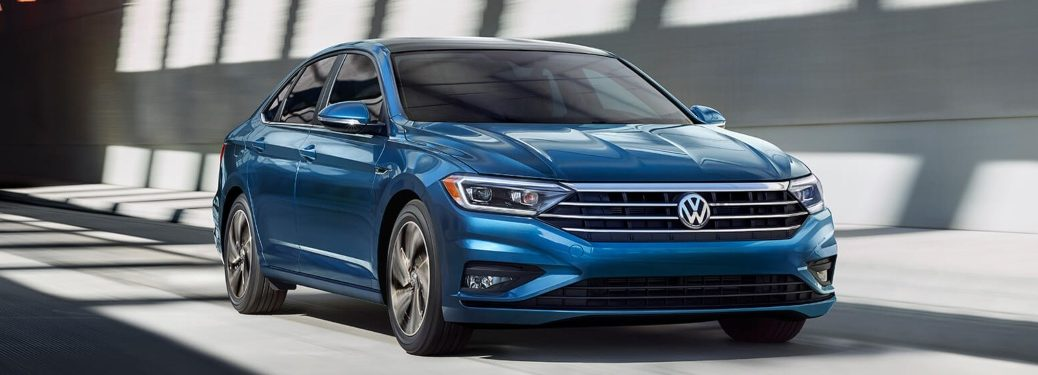 Front side view of a blue 2019 Volkswagen Jetta