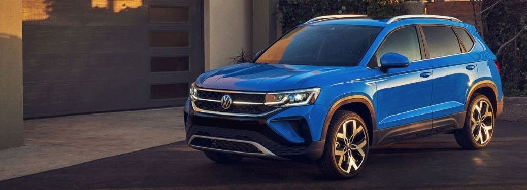 Blue 2022 VW Taos Parked on road