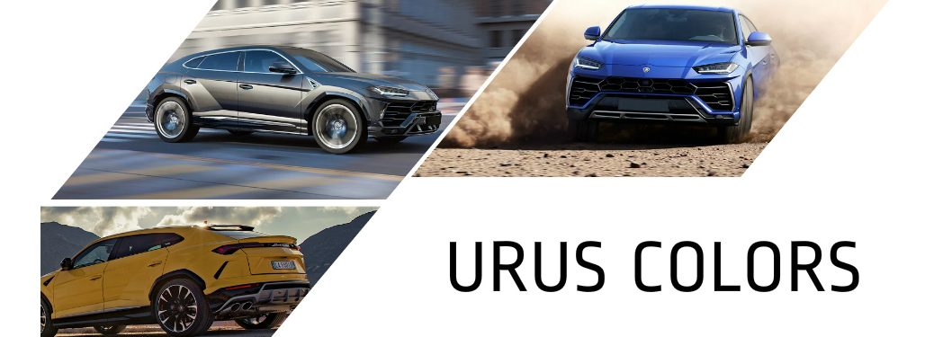 "lamborhini urus photos with text saying ""urus colors"""