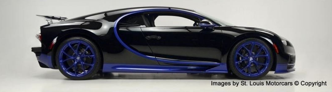 side view of black and purple bugatti chiron with text saying images by St. Louis Motorcars