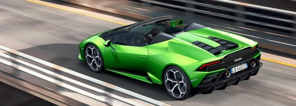 rear overhead view of lamborghini huracan evo spyder on the highway