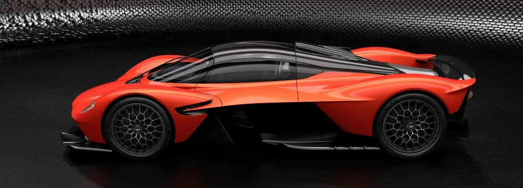 Red and Black Aston Martin Valkyrie Side Exterior on a Black Background