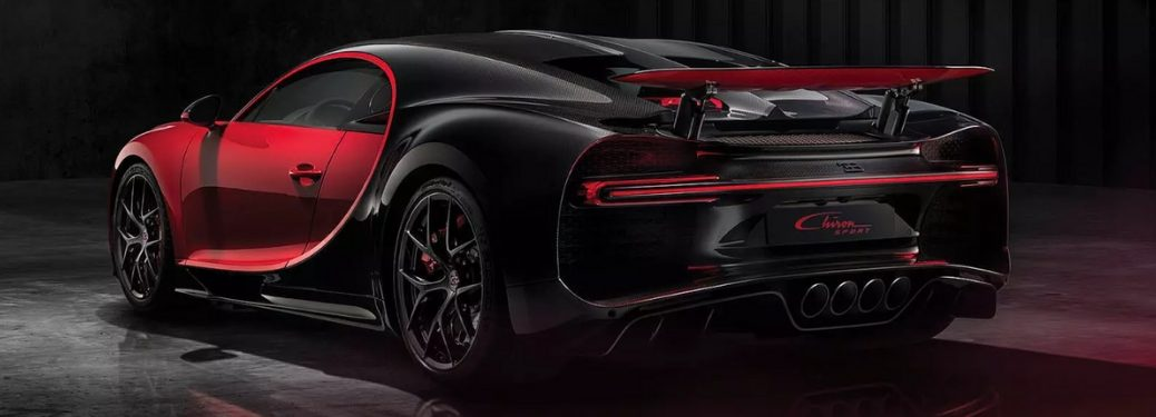 Black and Red Bugatti Chiron Sport Rear Exterior in Dark Garage