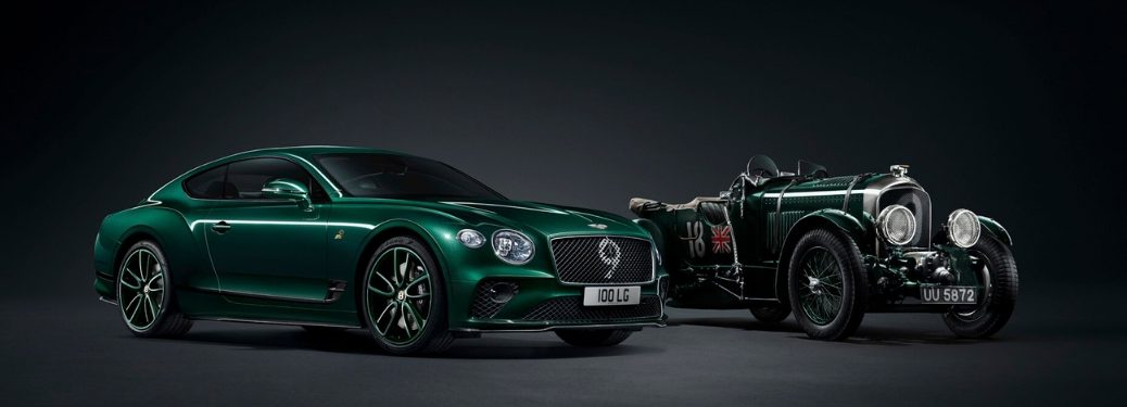 Green Bentley Continental GT Number 9 Edition and Green 1930 No. 9 Blower on Dark Background