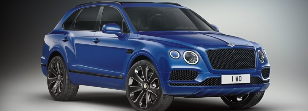 Blue 2019 Bentley Bentayga V8 Design Series on Gray Background
