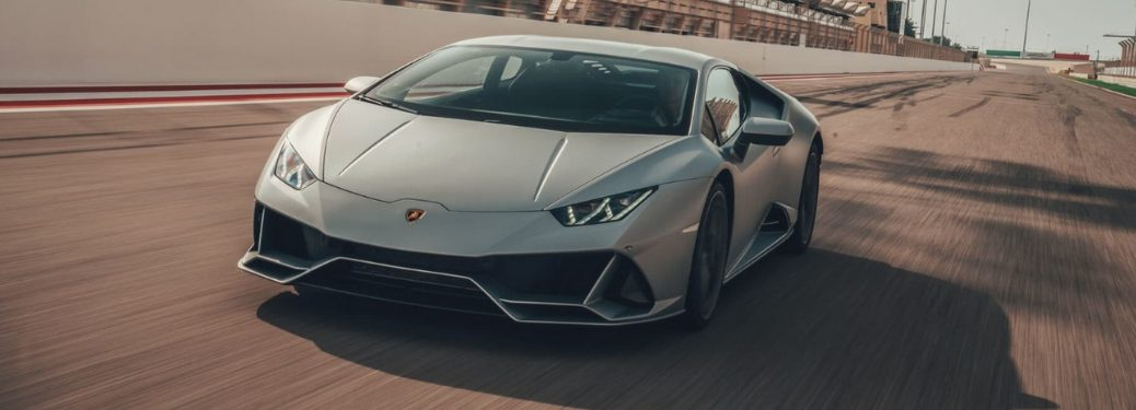 Silver 2019 Lamborghini Huracan EVO on the Track