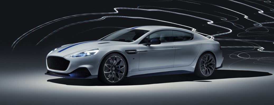 White and Blue 2020 Aston Martin Rapide E Front Exterior on Dark Background