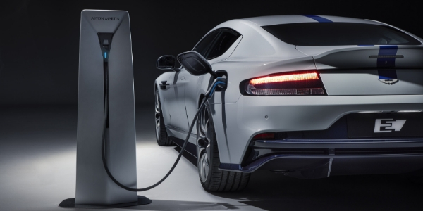 White and Blue 2020 Aston Martin Rapide E Being Charged