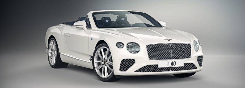 White Bentley Continental GT Convertible Bavaria Edition on a Gray Background