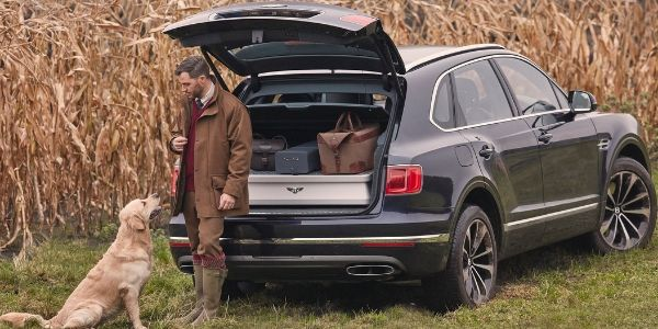Black 2019 Bentley Bentayga Rear Exterior in Field with Dog and Hunter
