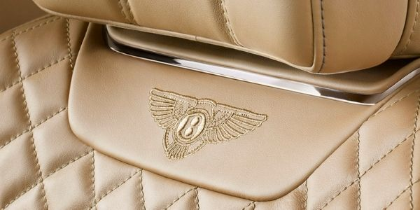 Close Up of 2019 Bentley Bentayga Headrest Badge