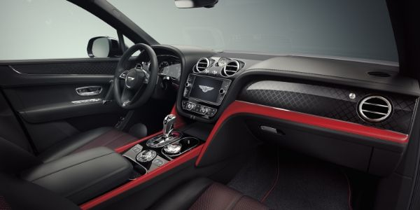 Red and Black 2019 Bentley Bentayga Front Seat Interior