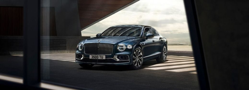 Blue 2020 Bentley Flying Spur Front Exterior in a Garage