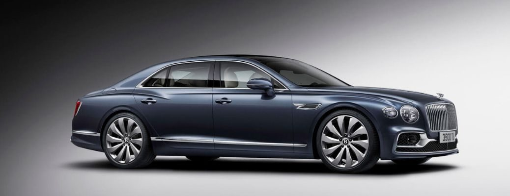 Blue 2020 Bentley Flying Spur Side Exterior on Gray Background