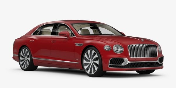 St. James Red 2020 Bentley Flying Spur on White Background