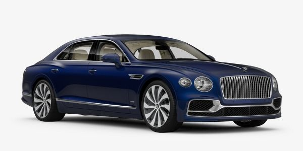 Moroccan Blue 2020 Bentley Flying Spur on White Background