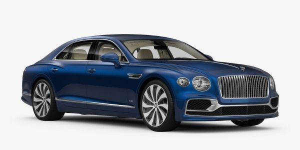 Sequin Blue 2020 Bentley Flying Spur on White Background