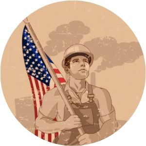 Cartoon Graphic of Worker in Hard Hat Holding American Flag with Factory in the Background