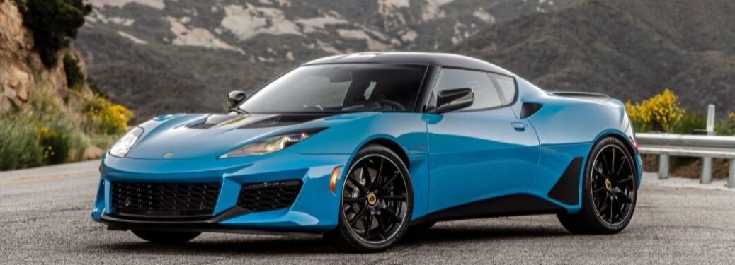 Blue 2020 Lotus Evora GT Front Exterior on a Mountain Road