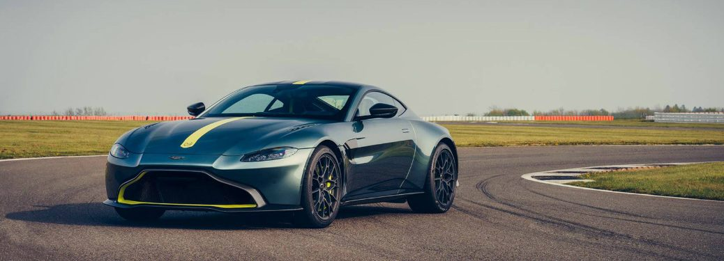 Dark Green 2019 Aston Martin Vantage AMR parked on a racetrack