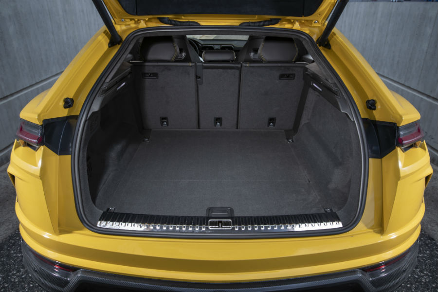 A photo of the cargo area in the back of the Urus with the rear seats deployed.