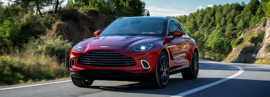 front view of a red 2021 Aston Martin DBX