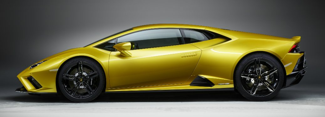 Side view of yellow 2020 Lamborghini Huracán EVO RWD