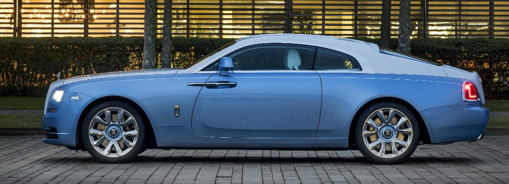 Side view of blue Rolls-Royce Falcon Wraith