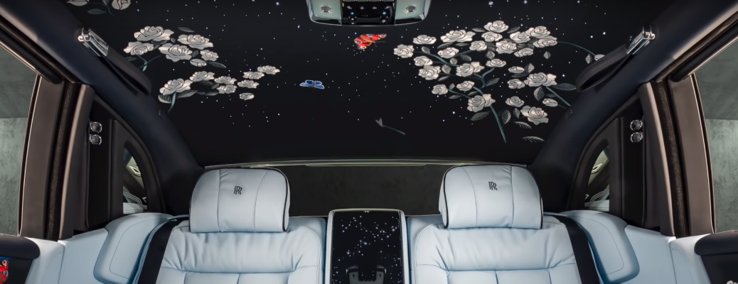 """View the Beautiful Satin Stitching of the Rose Interior in the Rolls-Royce """"Rose"""" Phantom"""