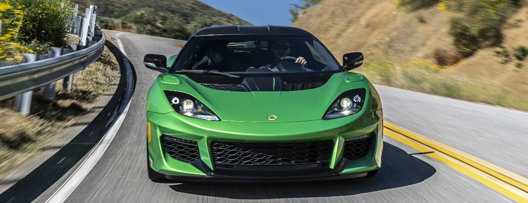 Front view of green 2020 Lotus Evora GT