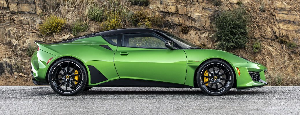 Side view of green 2020 Lotus Evora GT