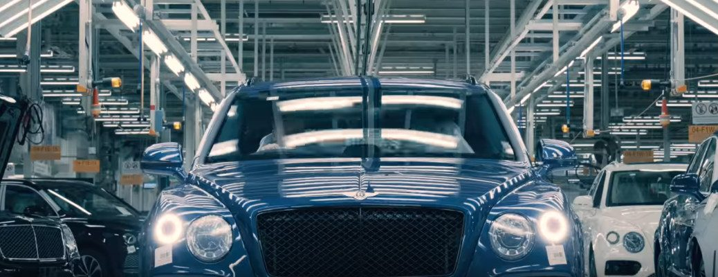Blue Bentley Bentayga Speed on an assembly line