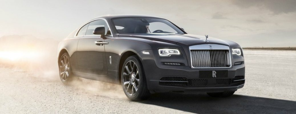 Passenger's side front angle view of grey 2020 Rolls-Royce Wraith