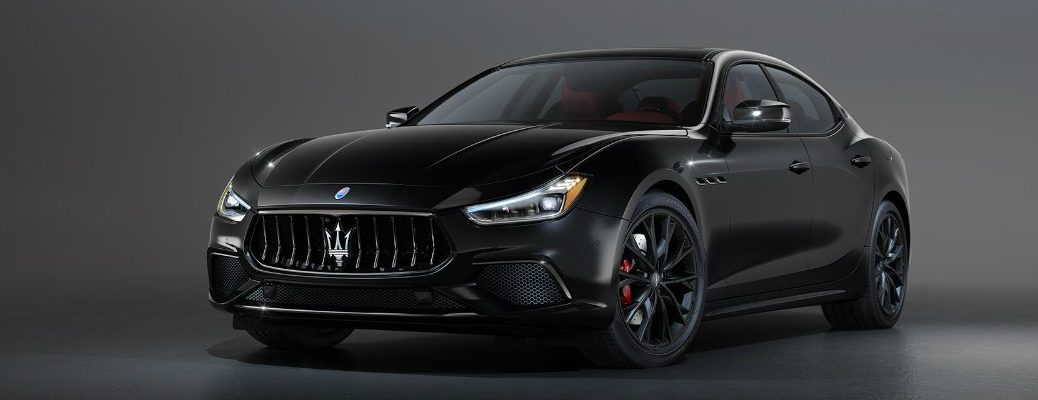 Driver's side front angle view of black Maserati Ghibli