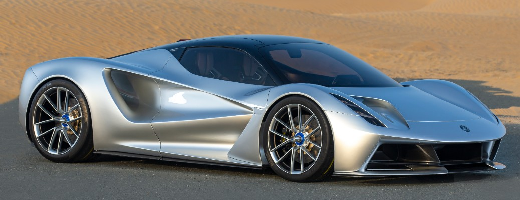 Passenger's side angle front view of silver 2021 Lotus Evija