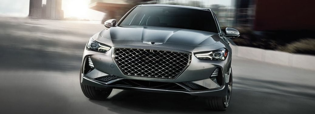 Silver 2021 Genesis G70 Front Exterior on a City Street