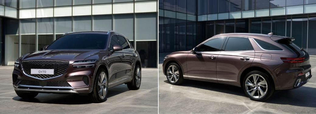 Dark Color 2022 Genesis GV70 Front and Rear Exterior