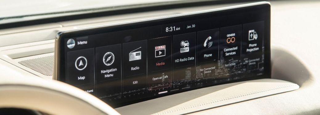 Close Up of 2021 Genesis GV80 Touchscreen Display