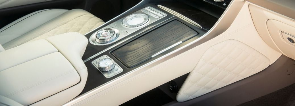 Close Up of 2021 Genesis GV80 Center Console with Drive Mode Selector