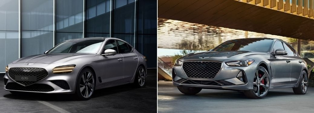 Silver 2022 Genesis G70 Front Exterior in a Driveway vs Silver 2021 Genesis G70 in a Driveway