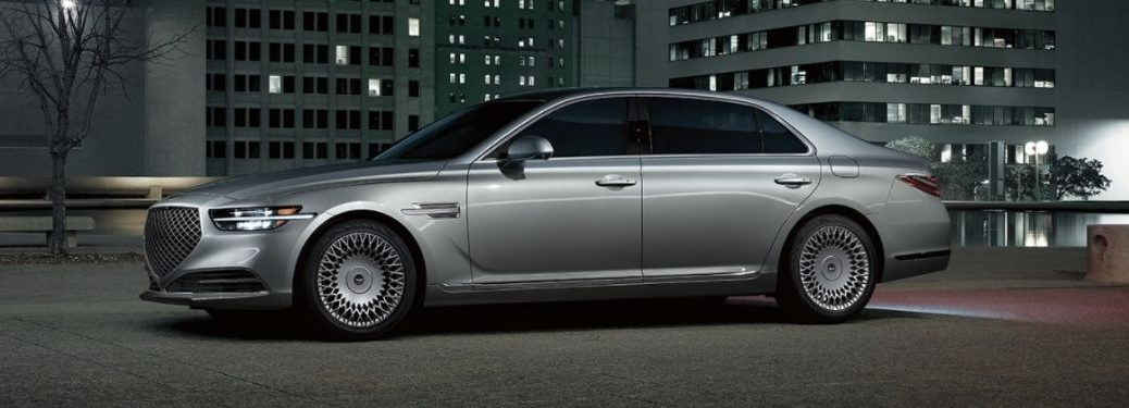 Gray 2022 Genesis G90 Side Exterior in Parking Lot at Night