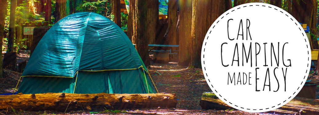 Car camping made easy next to a tent in the woods