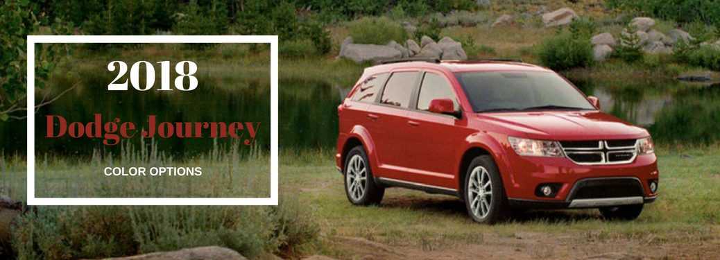 2018 Dodge Journey Color Options, text on an exterior image of a red 2018 Dodge Journey