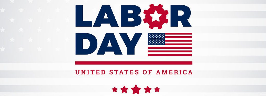 Labor Day United States of America, text next to an mage of the American Flag and red stars