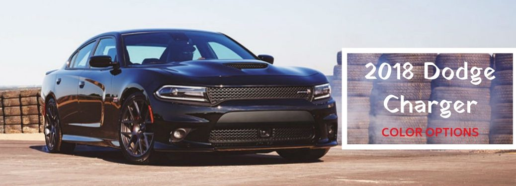 2018 Dodge Charger Color Options, text on a front exterior image of a black 2018 Dodge Charger